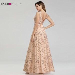 Image 3 - Elegant Rose Gold Evening Dresses For Women Ever Pretty EP00802RG A Line V Neck Bow Sahses Sparkle Party Gowns Robe De Soiree