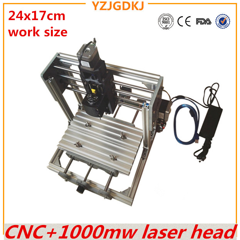 <font><b>CNC</b></font> <font><b>2417</b></font> GRBL control Diy high power 1000mw laser engraving <font><b>CNC</b></font> machine 3Axis Wood Router with 1w laser image