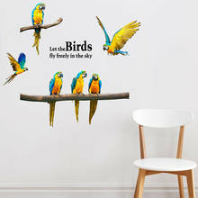 Removable Flying Parrot Wall Sticker Modern Birds Animal Decal Art Home Kids Living Room Mural Art DIY Poster Wall Stickers(China)