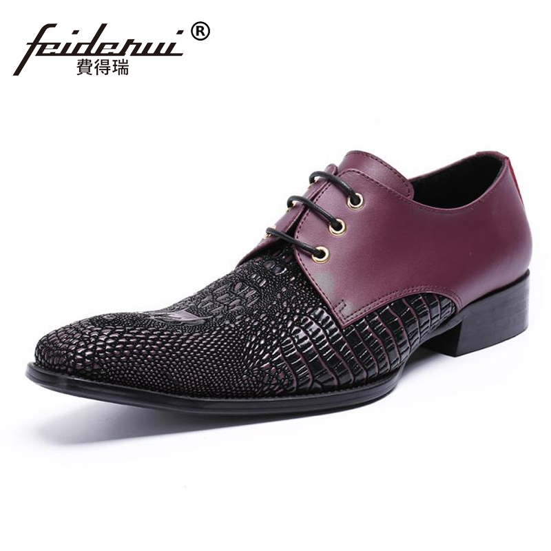 Plus Size New Arrival Pointed Toe Derby Man Wedding Party Footwear Genuine Leather Alligator Handmade Men's Runway Shoes SL459 plus size fashion pointed toe derby man runway footwear italian designer patent leather wedding party men s runway shoes sl435