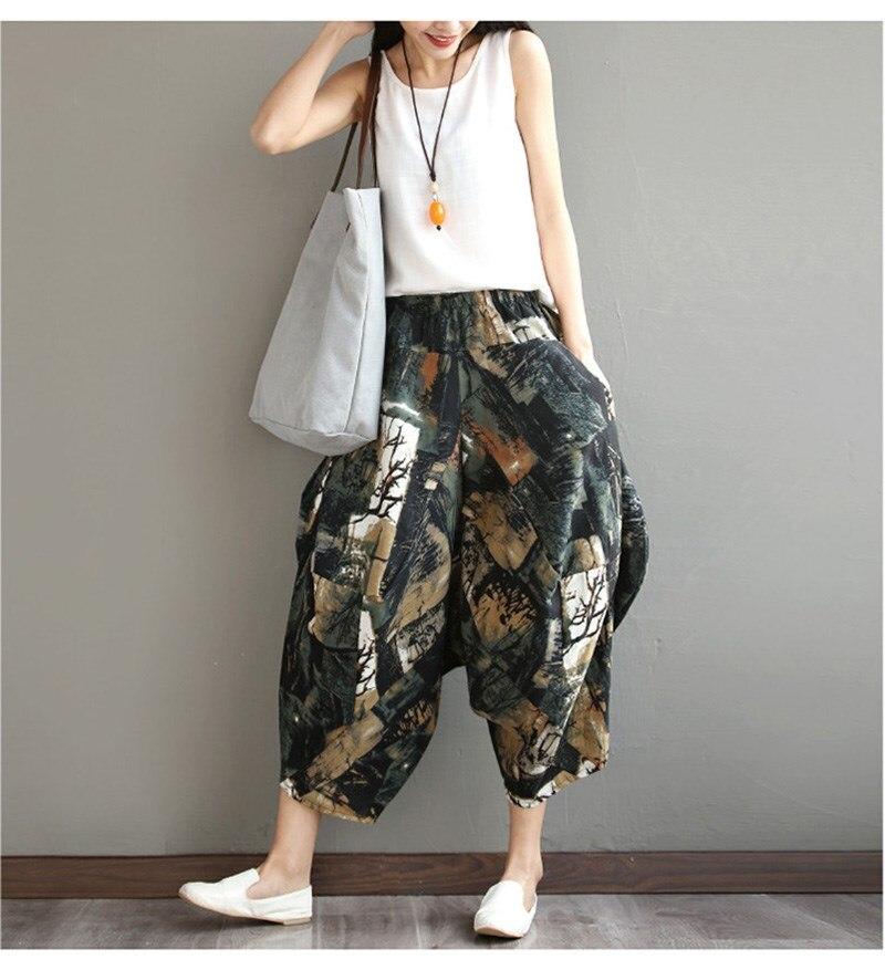 2019 Summer Women Boho Cotton Linen Harem   Pants   Floral Print Lantern   Pants   Low Casual Elastic Waist Loose Trousers