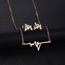 Trendy  Simple Heartbeat Pendatnt  Necklace Earrings  CZ Stone Stainless Steel Jewelry Sets Female Valentine Gift
