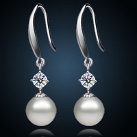 Black White Genuine Natural 10mm Jewelry To Circle Light Freshwater Pearl Earring Jewelry Silver Female Genuine