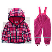Children's outdoor fleece soft shell clothing waterproof breathable warm and comfortable jacket + pants
