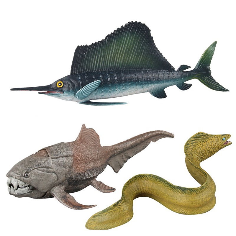 Sailfish/Morayeel/Dunkleosteus  Animal Figure Collectible Toys Marine Organism Animal Action Figures Kids Plastic Cement Toys
