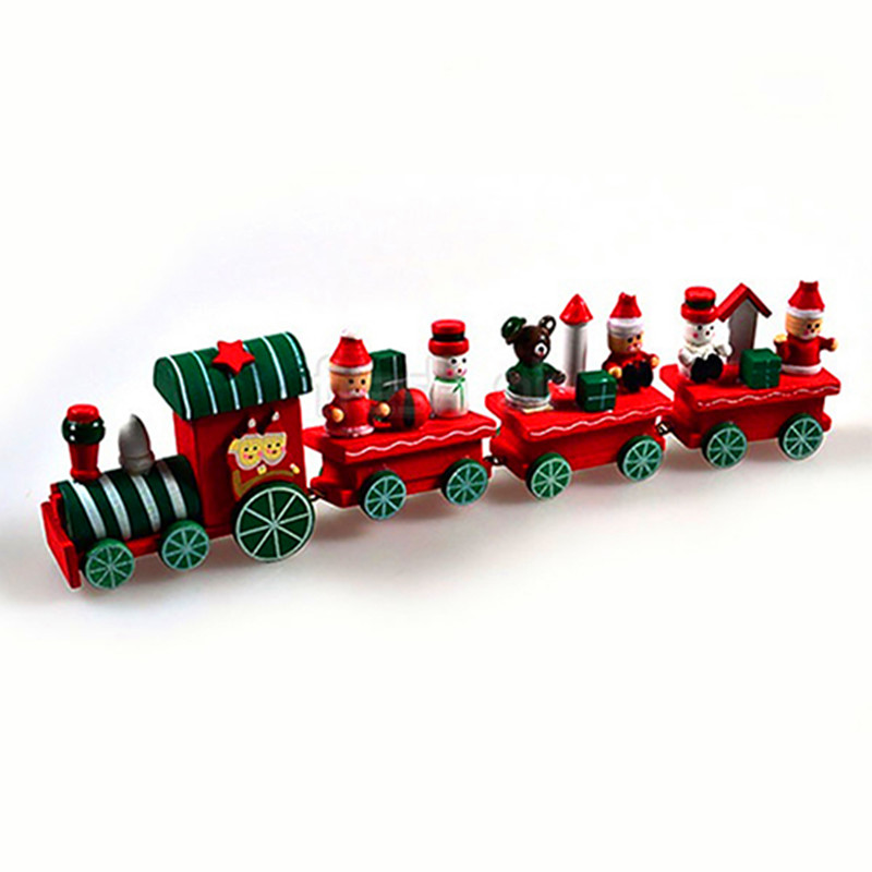 Cute 4 Sections Wood Christmas Train Table Ornament ...