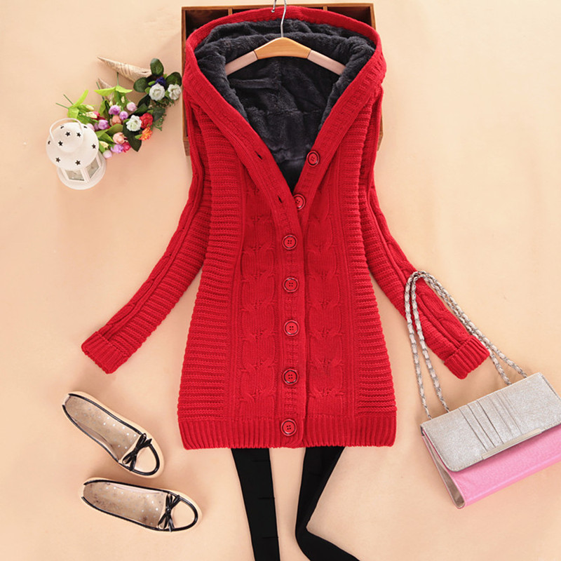 winter sweaters Women's Fleece Coat Warm Solid Loose Knitted Cardigans Fashion Long Sleeve Knitwear Hooded Outerwear M8145