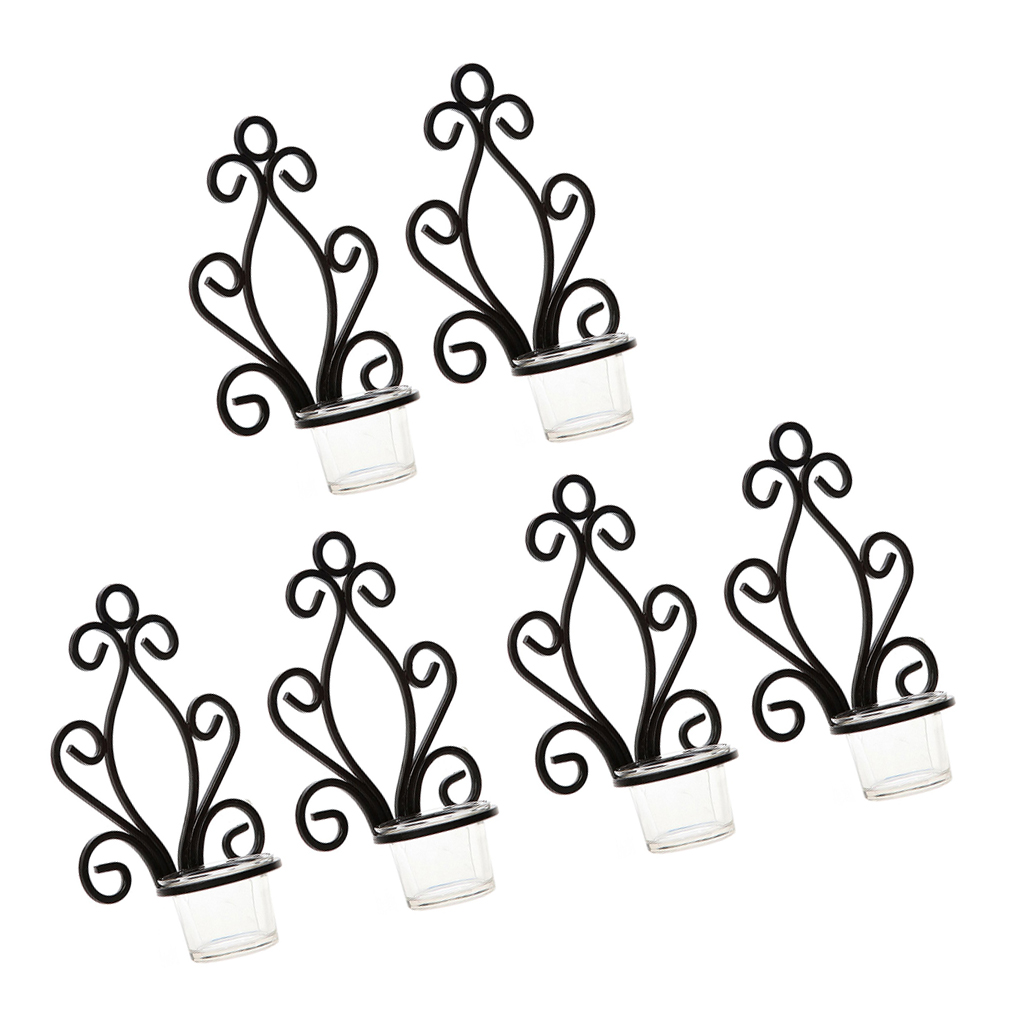 6Pcs Antique Iron Tea Light Holders Candle Votive Wall Mounted Candlestick