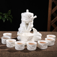 11PCS/Lot Creative Ceramic Automatic Tea Set Home Cha Hai Handmade Vintage Anti hot Teacup with Fair Cup Gaiwan Base Kit Gifts