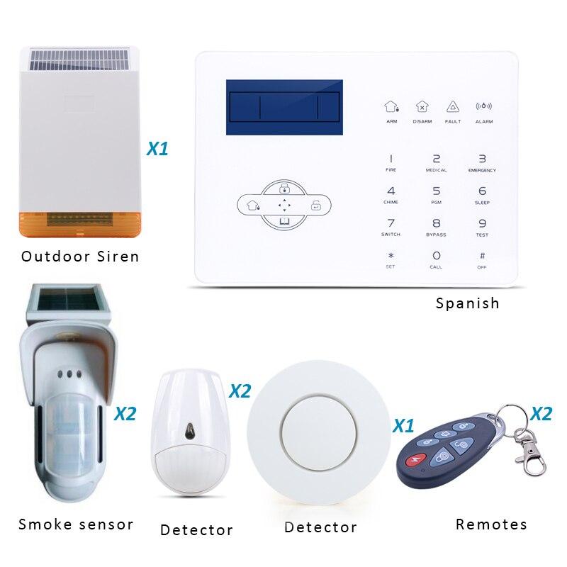 Système d'alarme espagnol GSM système d'alarme domestique personnalisé avec capteur solaire extérieur PIR et sirène extérieure solaire