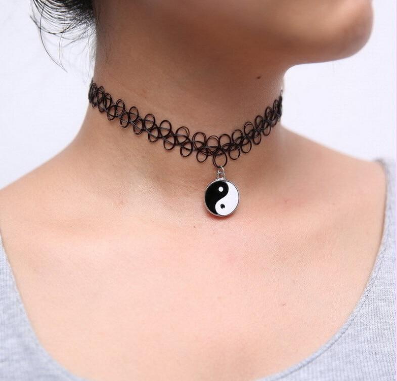 Tatuaje caliente Boho Gargantilla Stretch Collar Collar de Mujer Accesorios de Color Negro Plstic Girls Girls