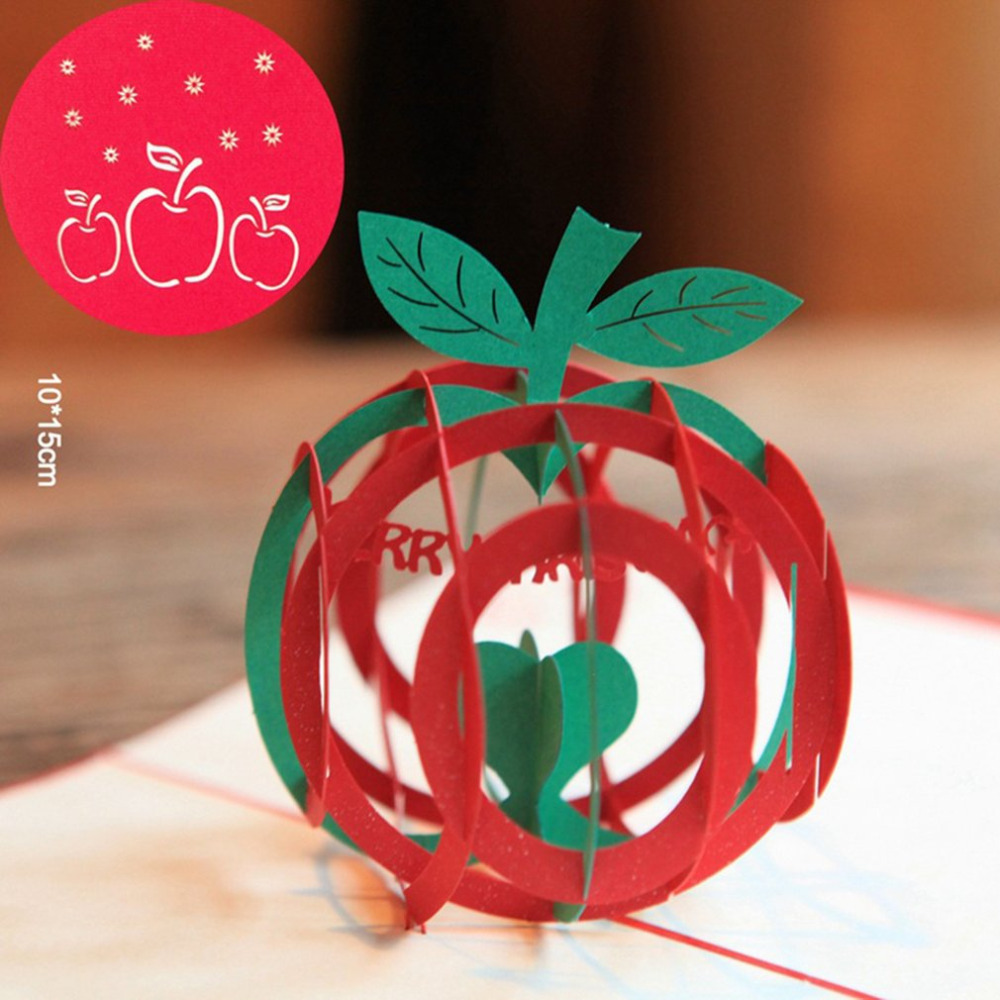 Christmas Apple Card 3d Pop Up Handmade Holiday Greeting Cards Funny