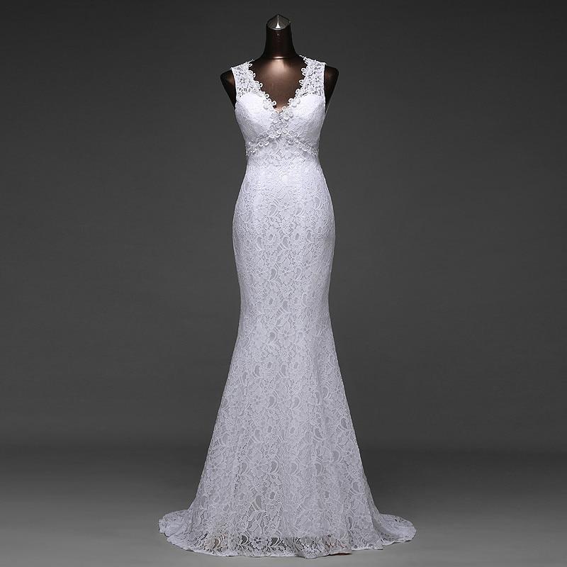 V-Neck Beautiful Backless Mermaid Wedding Dress 1