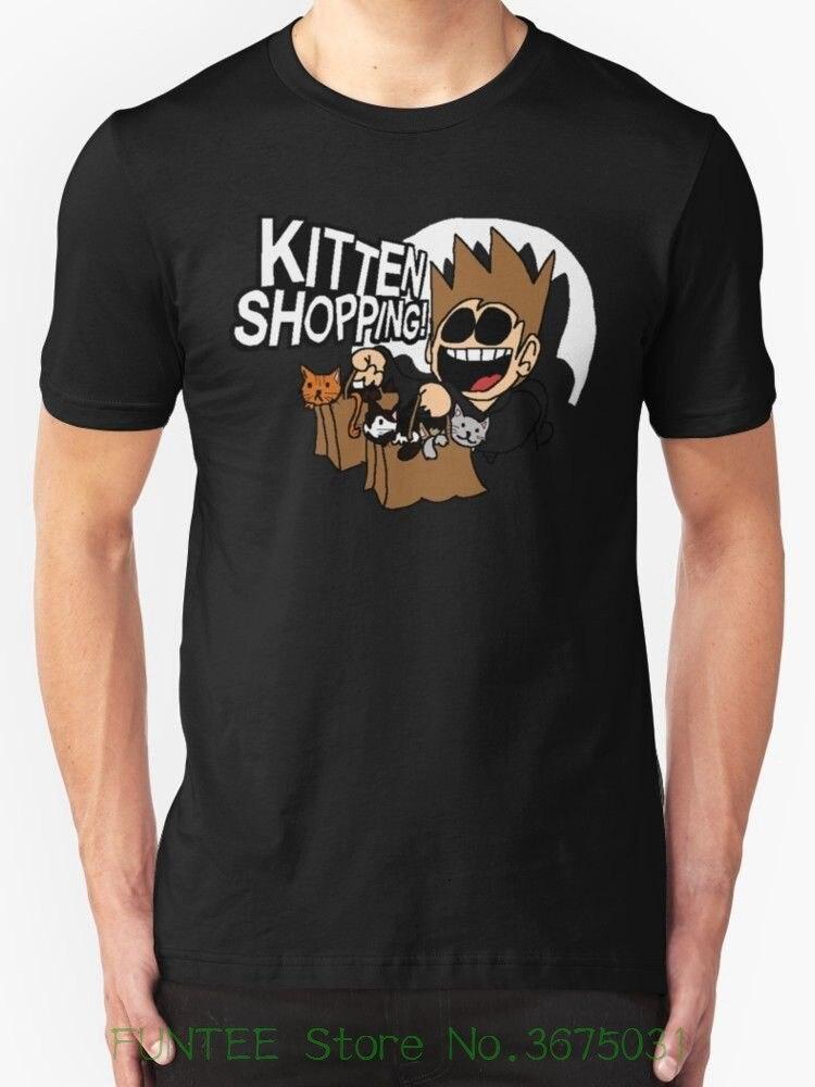 Summer Short Sleeve Shirts Tops S~3xl Big Size Cotton Tees Free Shipping Eddsworld Kitten Shopping New T-shirt Mens Black
