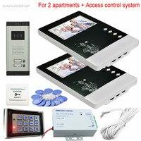 2 Daire Görüntülü Kapı Telefonu Sistemi için CCD 700TVL Kablolu Video Kapı Zili Rfid Ve Kod Kilidini Erişim Kontrol Tuş Takımı Sistemi birim