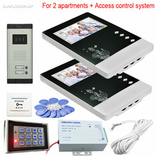 For 2 Apartments Video Door Phone System CCD 700TVL Wired Video Doorbell Rfid And Code Unlock Access Control Keypad System Unit