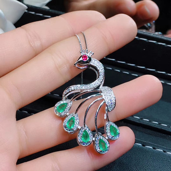 Natural green Emerald necklace pendant S925 silver natural gemstone pendant fashion Peacock girl women party gift fine  jewelry