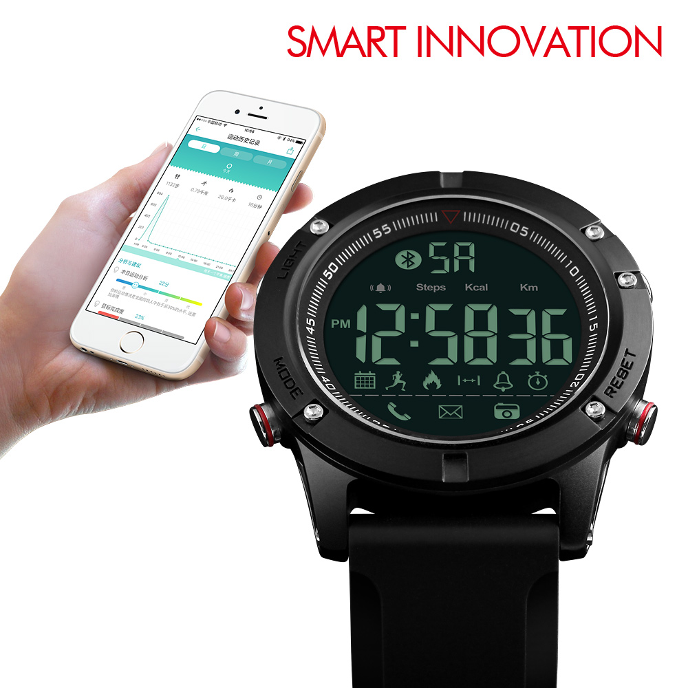 SKMEI Bluetooth Smartwatch Men Smart Watch Calories Pedometer Multi-Functions Sports Watches Reminder Digital Wristwatches mens smart watch rechargeable heart rate monitor bluetooth watch men pedometer calories chronograph digital sports watches skmei