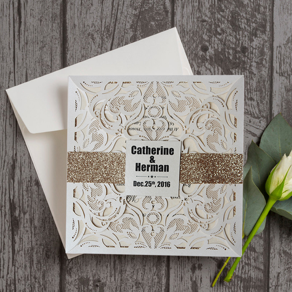 034ae28187d7 Luxury Laser Cut Wedding Invitations with Customized Wording CW519 Pearl  White Wedding Invitation Cards Elegant set of 50 pcs-in Cards   Invitations  from ...