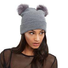 2018 Women Knit Cap Winter Warm Crochet Skullies Hat Double Faux Fur Pom  Pom Beanie Cap e635245626e3