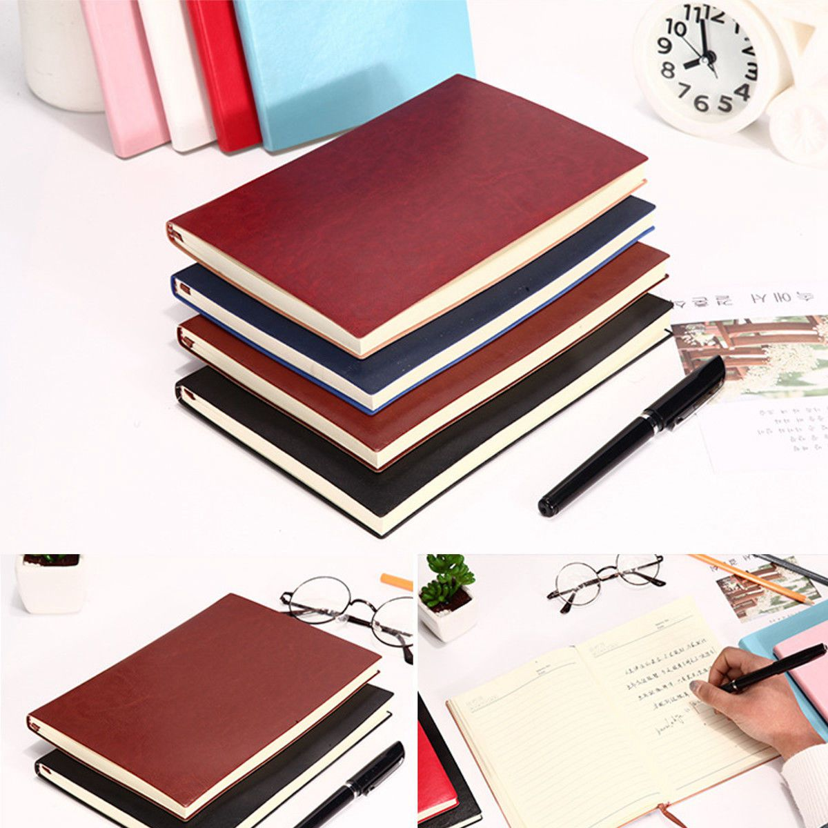 Hot sale 6 Color Random Soft Cover PU Leather Notebook Writing Journal 100 Page Lined Diary Book my beauty diary 10 page 6