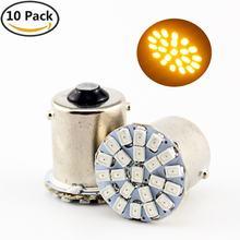 10 unidades 12v lâmpadas de re 22 leds smd 1156 ba15s p21w 1 polo amarelo