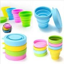 4 colores portátil de silicona telescópico plegable retráctil taza plegable de viaje de la vajilla plegable taza de dulces al aire libre Camping