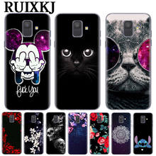 Cool Cat Flower Phone Case For Coque Samsung Galaxy S6 S7 Edge S8 S9 Plus J3 J5 J7 2017 J4 J6 A520 A6 A8 Plus 2018 Mickey Cover(China)