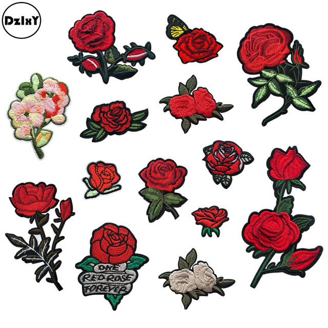0603083f61d0 1 PCS Rose Embroidered Iron on Patches for Clothing DIY Stripes Clothes  Patchwork Sticker Custom Flowers Applique  Z