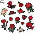 1 piezas Rosa bordado hierro en parches para ropa de rayas ropa Patchwork adhesivo personalizado flores apliques @ Z