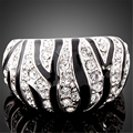 Fashion Vintage Zebra Man Ring Black Line Austrian Crystal Platinum Plated Anti-allergy Top Quality Rings For Men bague homme