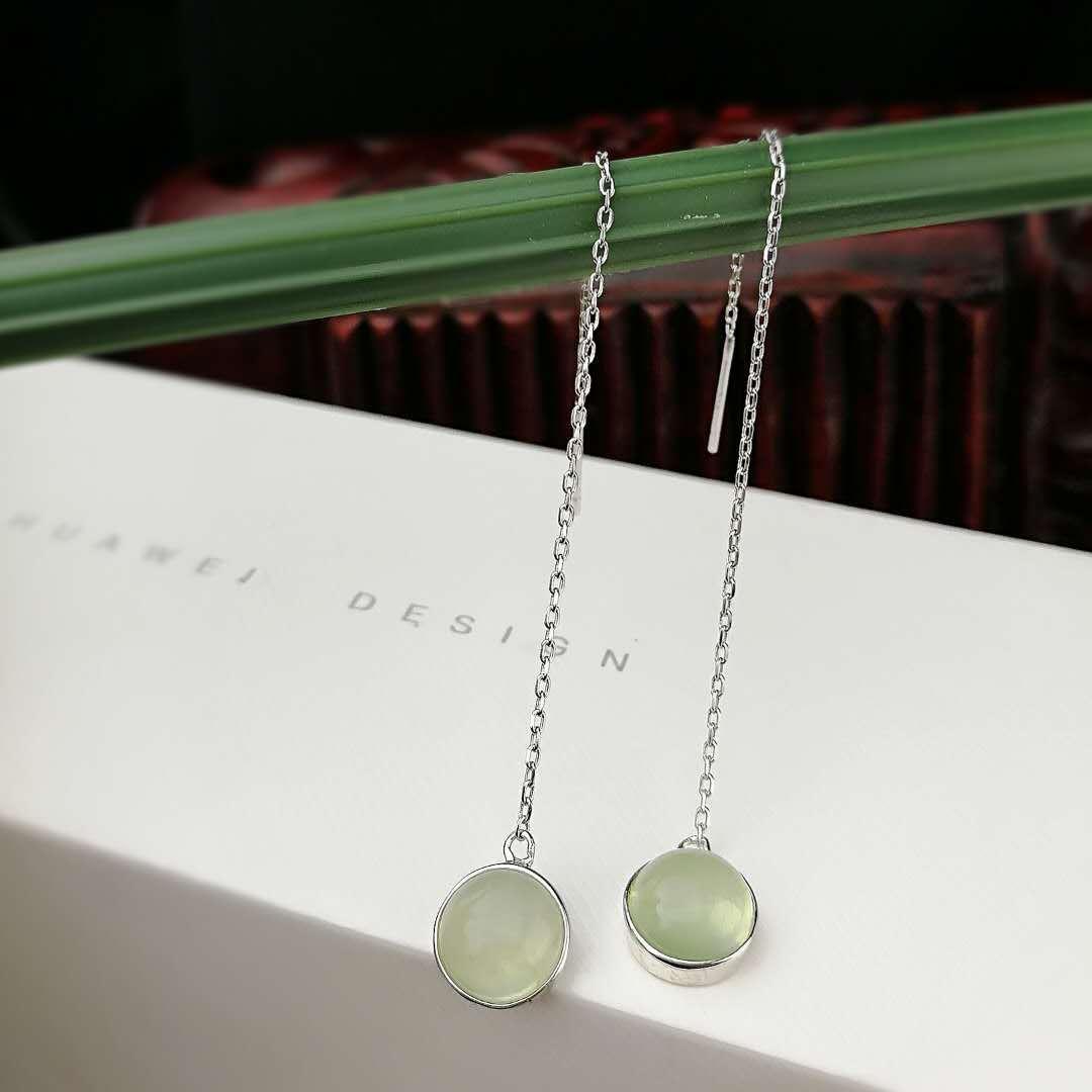 natural grape stone s925 silver earrings han edition temperament long ears line wholesale fashion gemstone earrings