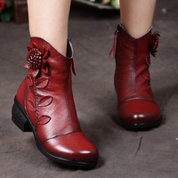 2017 Women Vintage Style Genuine Leather Large Yard Winter Boots Women Boots Warm Plush Winter Soft