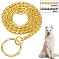 Snake Chain Dog Training Collar Pet Show Collar Heavy Duty  Metal Chain P Choke Collars Strong Chrome Gold Black 3mm 4mm 5mm