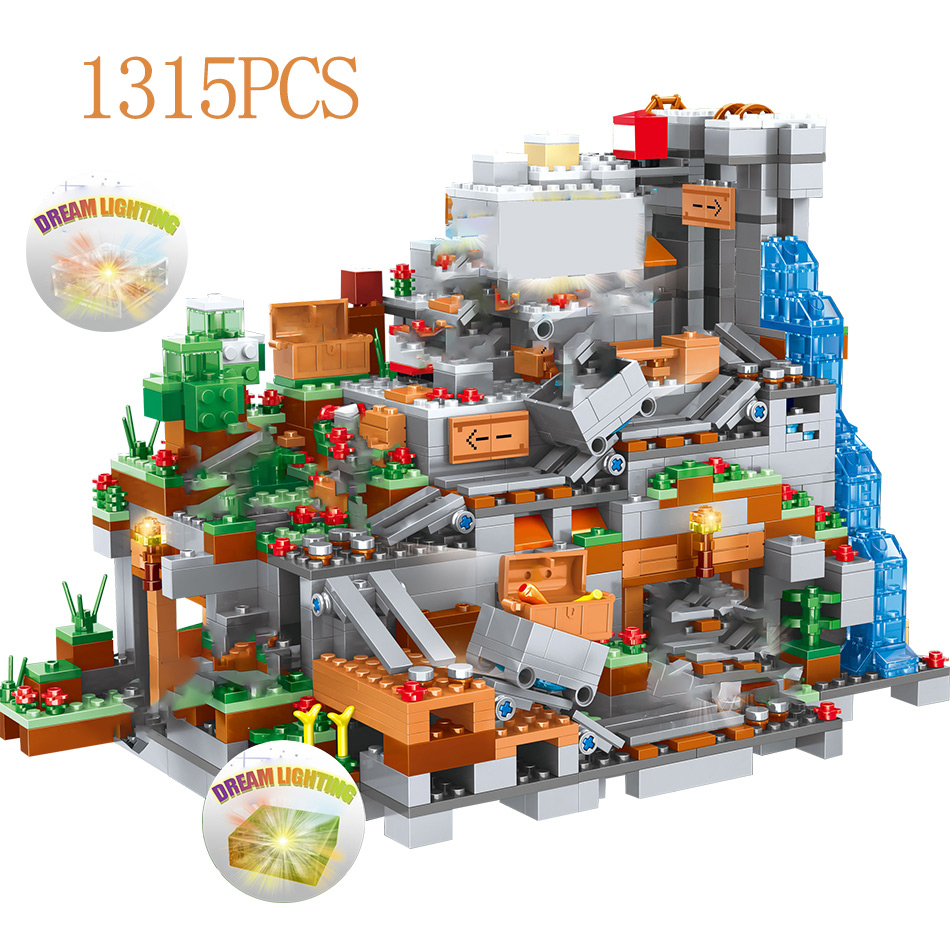 Minecraft Mountain Cave Legoing Minecraft 21137 Figures Model Building Blocks 1315 Piece Bricks Boys Birthday Gift Children Toys 7