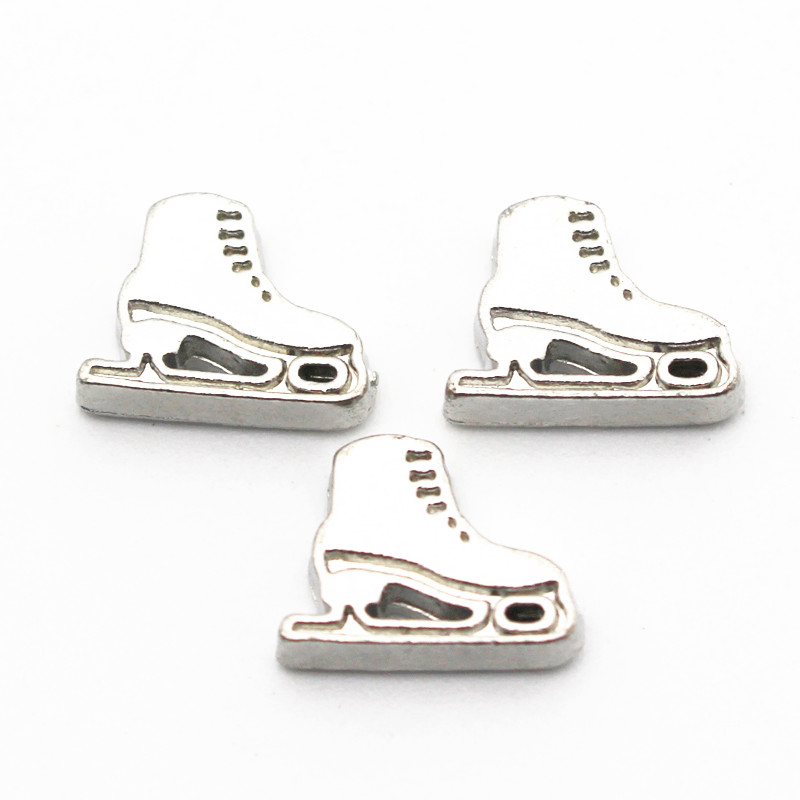 Hot selling 10pcs/lot ice skates floating charms sports charms living glass memory lockets diy jewelry