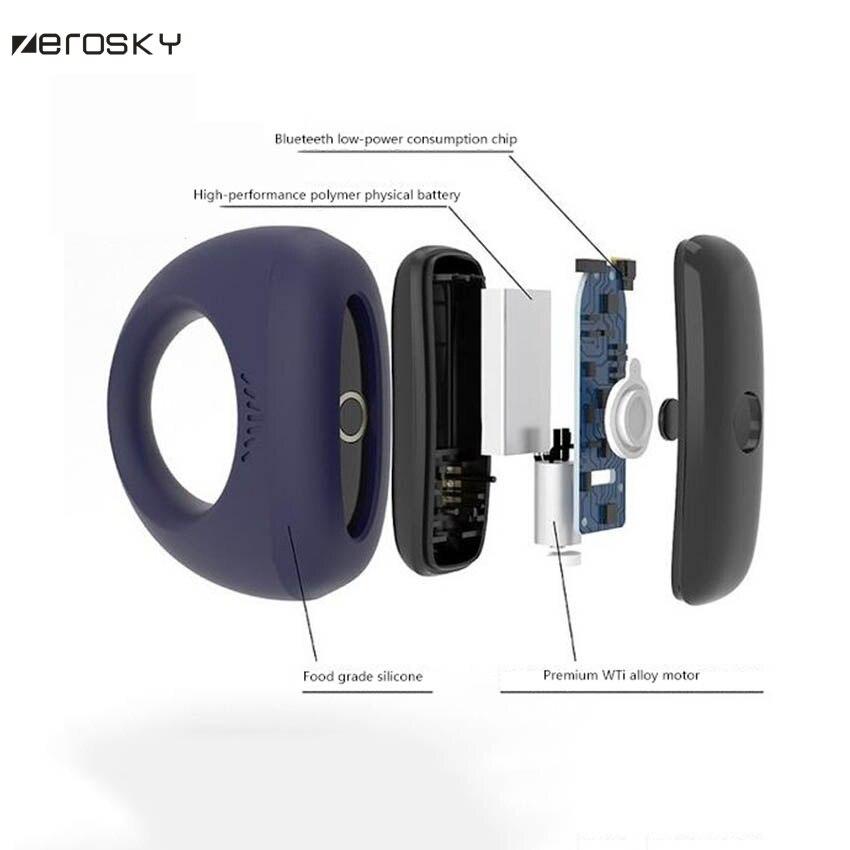 Zerosky Носимых Смарт-кольцо пениса по телефону Cockring Вибрационный Беспроводной массаж мужской взрослые продукты Секс-игрушки для Для мужчин