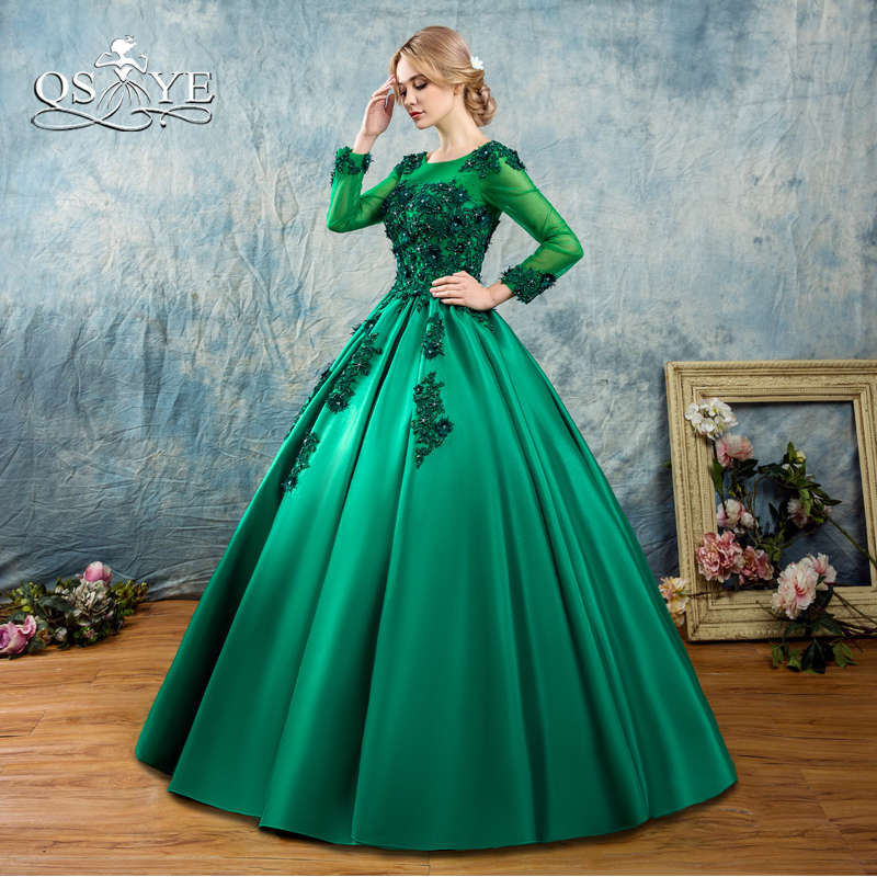 QSYYE 2018 New Green Long   Prom     Dresses   Robe de Soiree Ball Gown Long Sleeve 3D Flowers Floor Length Satin Evening   Dress