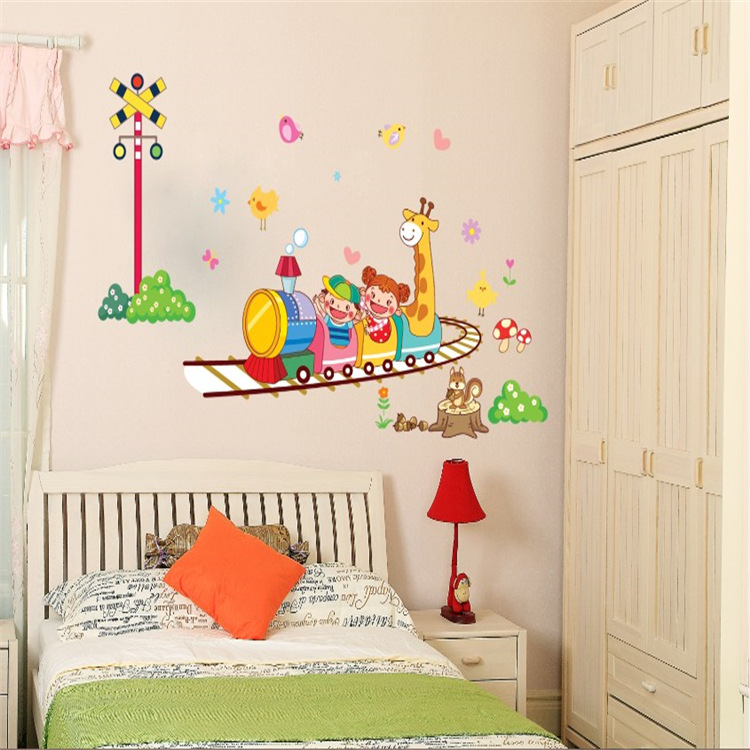 Holiday Promotion Cheap The Crazy Roller Coaster Dolphin Wall Catoon Kids Room Wall Sticker Diy