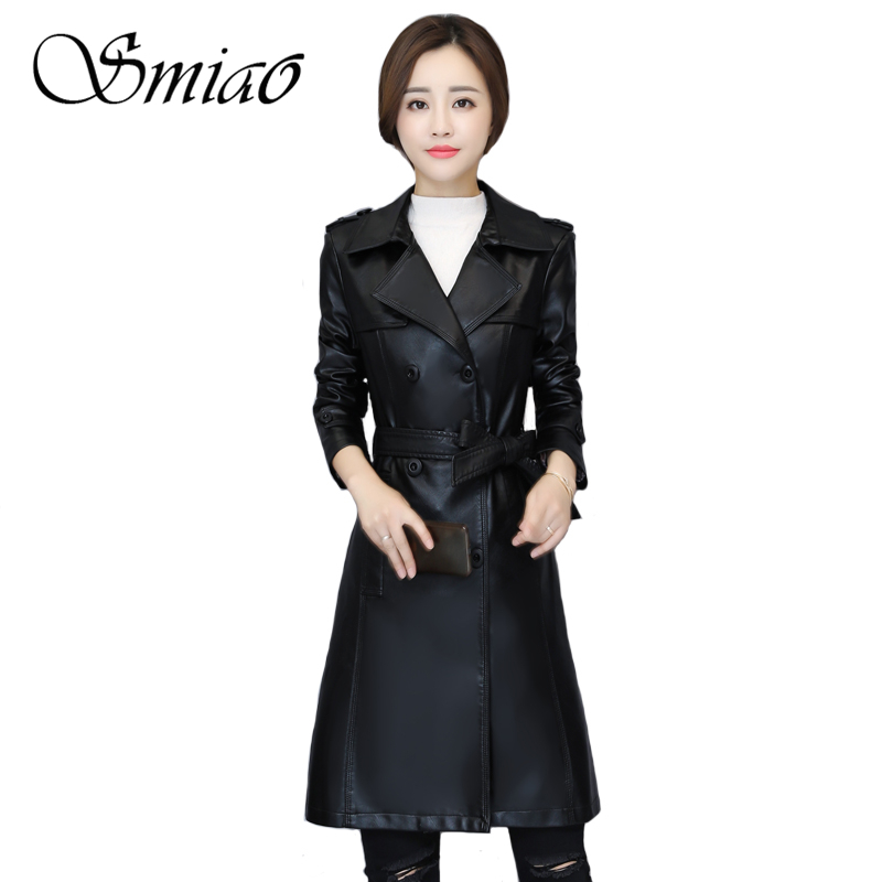 2019 Spring Soft Faux   Leather   Jacket With Belt Sheepskin Coat Washed PU   Leather   Jacket Plus Size 5XL Trench Coat Long Overcoat