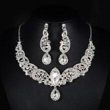 Impresionante Plata Rhinestones Claros Cristales Joyería de la Boda Aretes Collar Nupcial Conjunto Joyería Fija el Partido