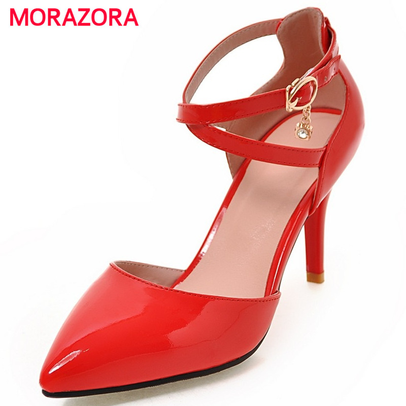 MORAZORA Summer shoes hot sale shallow buckle wedding shoes woman thin high heels big size 32-43 elegant women sandals anmairon shallow leisure striped sandals women flats shoes new big size34 43 pu free shipping fashion hot sale platform sandals