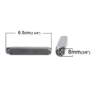"""Image 2 - DoreenBeads 8mm Karbon Çelik Antika Kalaylı Numarası """"0 9"""" Dikdörtgen Punch Metal Damgalama Araçları 65mm (2 4/8 """") x 11mm, 1 Takım"""