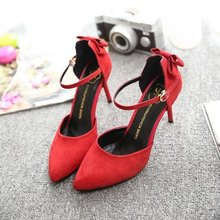2016 fashion women high heels pointed pumps new  matte surface bow buckle high-heeled shoes red, green and black 6-8cm