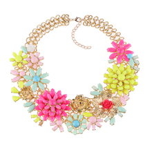 2015 New Fashion Necklace Pendant Multilayer Flower Gem Rhinestone Choker Necklace Sweater Chain Statement Jewelry For Women