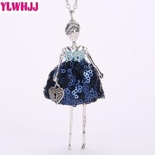 YLWHJJ brand new doll cute women blue maxi long necklace girl rhinestone fashion jewelry fairy avatar metal accessories pendant