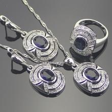 Romántico Azul Creado Zafiro Blanco Topaz 925 Plata de La Joyería Para Las Mujeres Pendientes/Colgantes/Collar/Anillos Caja libre