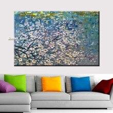 дешево!  Большой размер ручная роспись цветочные фиолетовый абстрактной живописи стены искусства гостиной