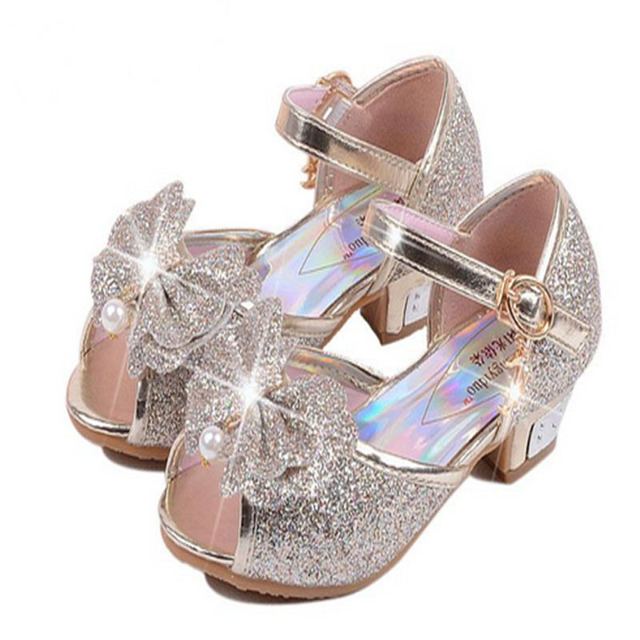 Glitter Sandals For Children Girls Fashion Wedding Shoes High Heels Dress  Shoes Girl Leather Bowtie Party Shoes Plus Size 26-37 777f895e59d9