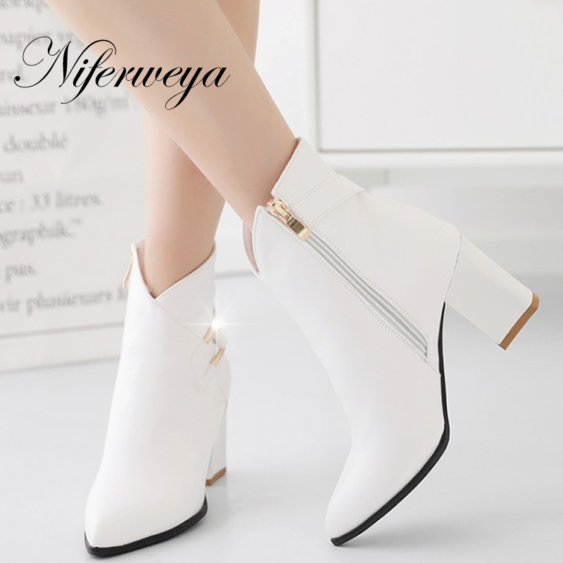 Metal Decoration spring/autumn women shoes Fashion Pointed Toe thick heel high heels Big size 32-42 winter zipper Ankle boots autumn winter women thick high heel genuine leather buckle side zipper pointed toe fashion ankle martin boots size 34 39 sxq0902